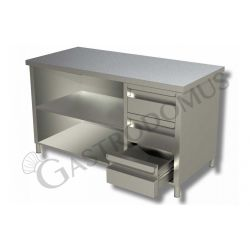 Tavolo a giorno in acciaio inox con 3 cassetti sul lato destro, L 2000 mm x P 600 mm x H 850 mm