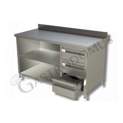Tavolo a giorno in acciaio inox,3 cassetti a destra, alzatina, L 1400 mm x P600 mm x H 850 mm