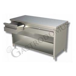 Tavolo a giorno in acciaio inox con 2 cassetti, L 1000 mm x P 600 mm x H 850 mm