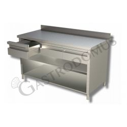 Tavolo a giorno in acciaio inox con 2 cassetti, alzatina, L 1200 mm x P 600 mm x H 850 mm