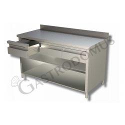 Tavolo a giorno in acciaio inox con 3 cassetti, alzatina, L 1400 mm x P 600 mm x H 850 mm