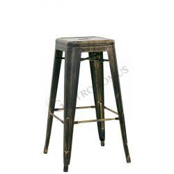 Sgabello Loft con struttura e seduta in metallo verniciato effetto anticato