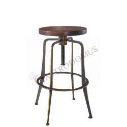 Sgabello Dust con struttura in metallo verniciato effetto anticato e seduta in legno