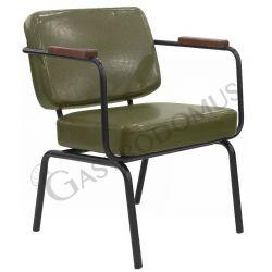 Poltrona Arnold con struttura in metallo verniciato, seduta e schienale in ecopelle