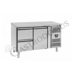 Tavolo refrigerato - 1 porta e 2 cassetti sinistra - Prof. 700 - temperatura -2°C/+8°C