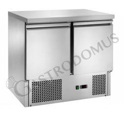 Saladette refrigerata statica con 2 porte, piano in acciaio inox e temperatura +2°C/+8°C