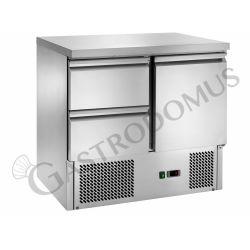 Saladette con 2 cassetti, 1 porta, piano in inox e temperatura +2°C/+8°C