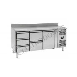Tavolo refrigerato - 2 porte e 2 cassetti sinistra - alzatina - Prof. 700 -2°C/+8°C