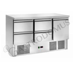 Saladette refrigerazione statica, capacità 368 LT con 1 porta e 4 cassetti