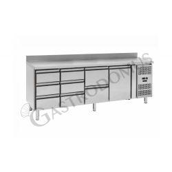 Tavolo refrigerato - 3 porte e 2 cassetti centrali sinistra - alzatina - Prof. 700 -2°C/+8°C