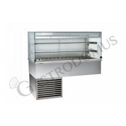 Vetrina refrigerata ventilata cubica 2 ripiani con tendina lato cliente  - Lunghezza 810 mm