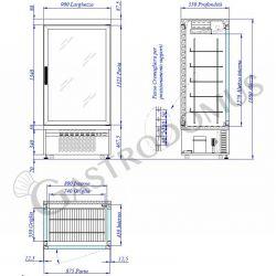 Espositore statico positivo per pasticceria - 3 lati vetro
