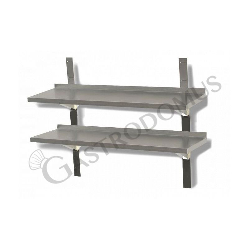 Mensola in acciaio inox doppia, L 1200 mm x P 300 mm x H 700 mm