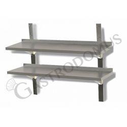 Mensola in acciaio inox doppia, L 1300 mm x P 300 mm x H 700 mm