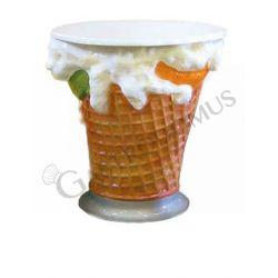 Tavolo a forma di gelato con base in metallo verniciato - Altezza 75 cm