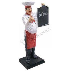 Chef in vetroresina con menù - Altezza 140 cm