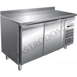 Tavolo refrigerato per gastronomia con alzatina, 2 porte, profondità 700 mm e temperatura - 18°/-22°C