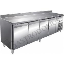 Tavolo frigo per gastronomia con alzatina, 4 porte, profondità 700 mm e temperatura - 18°/-22°C
