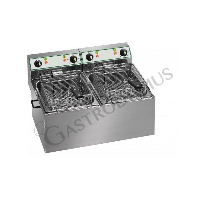 Friggitrice elettrica da banco con 2 vasche e capacità 8 litri più 8 litri