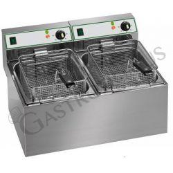 Friggitrice elettrica da banco con 2 vasche di capacità 4 litri più 4 litri