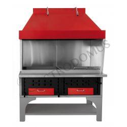 Barbecue modulare doppio alimentato a carbone vegetale - Lunghezza 1500 mm