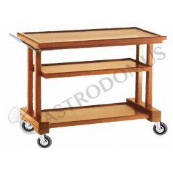 Carrello di servizio in legno massello, 3 piani in multistrato di betulla, L 1150 mm x P 550 mm x H 820 mm
