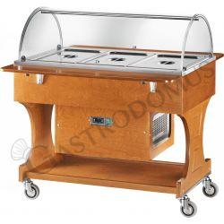Carrello refrigerato in legno wengé con cupola in plexiglass +2°/+10°C