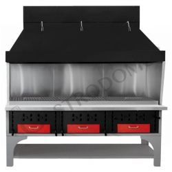 Barbecue modulare triplo alimentato a carbone vegetale - Lunghezza 2200 mm