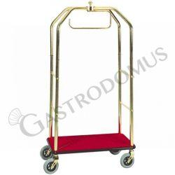 Carrello portavaligie con appendiabiti in acciaio ottonato - L 950 mm x P 550 mm x 1900 mm