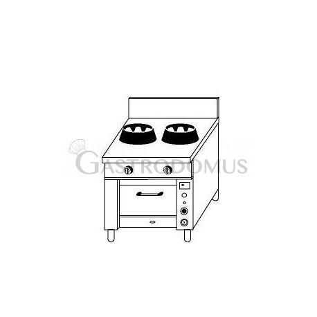 Cucina cinese 2 fuochi con forno a gas