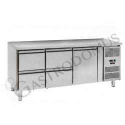 Tavolo refrigerato - 1 porta e 4 cassetti - Prof. 700 - temperatura -2°C/+8°C