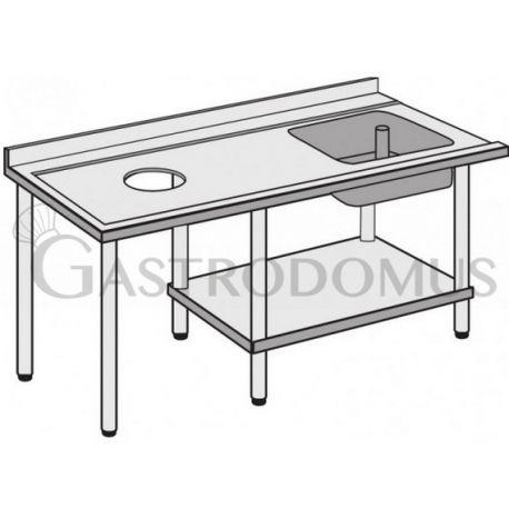 Tavolo laterale con vasca e foro di scarico, 1800MM