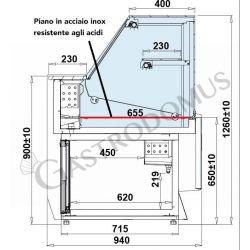 Area espositiva interna in acciaio inox resistente agli acidi per vetrina espositiva Mila L 1020 mm