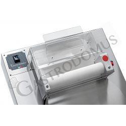 Stendipizza in inox con rulli paralleli in PEHD per pizza diam. 26/40 cm e pedale elettrico