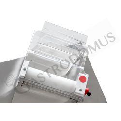 Dettaglio stendipizza in inox con rulli inclinati in PEHD per pizze diam. 26/40 cm avviamento automatico