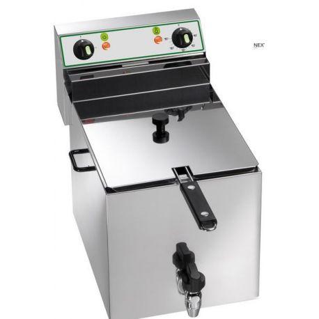 Friggitrice elettrica da banco - 1 vasca - capacità 10 LT - 6000  W - rubinetto