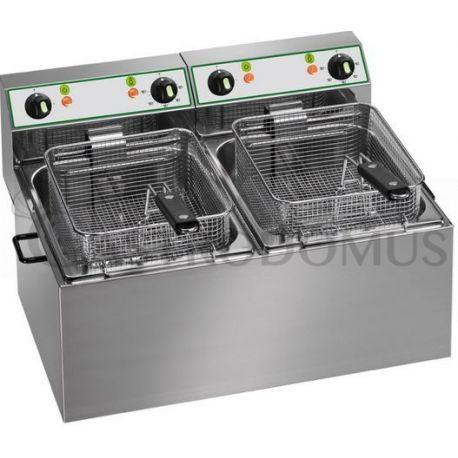 Friggitrice elettrica da banco - 2 vasche - capacità 8 LT + 8 LT - 3000 W + 3000 W