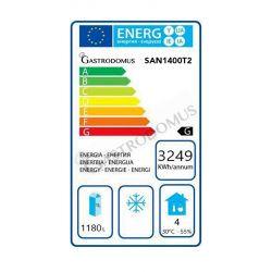 Classe energetica Frigo 1400 litri ventilato in acciaio inox con 2 porte e temperatura -2°C/+10°C