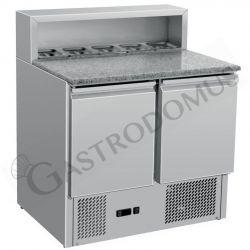 Saladette refrigerazione statica predisposta per 5 bacinelle GN1/6 con 2 porte e piano in granito