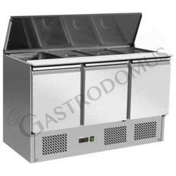 Saladette per 4 bacinelle GN1/1 con 3 porte e coperchio in acciaio inox