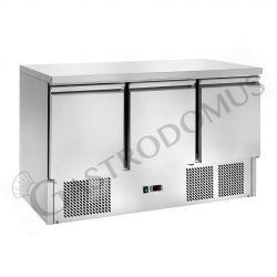 Saladette refrigerazione statica con 3 porte, piano in inox e temperatura +2°C/+8°C