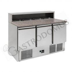Saladette refrigerazione statica predisposta per 8 bacinelle GN1/6 con 3 porte e piano in granito