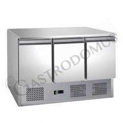 Saladette - refrigerazione statica - 3 porte - piano in inox