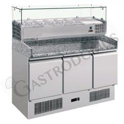 Saladette refrigerazione statica predisposta per 6 bacinelle GN1/4 con 3 porte e vetrina