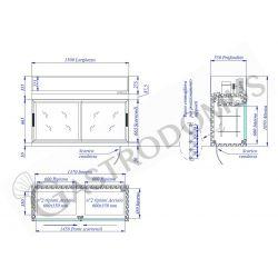 Scheda tecnica pensile refrigerato con porte scorrevoli L1500 mm x P 550 mm x H 1070 mm