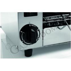 Dettaglio fornetto monofase in acciaio inox per toast e panini con 6 pinze - cassetto briciole - timer - potenza 3 kW