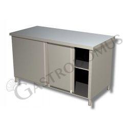 Tavolo armadiato passante in acciaio inox con porte scorrevoli, L 1400 mm x P 800 mm x H 850 mm
