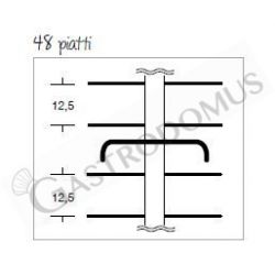Schema tecnio colonna portapiatti per 48 piatti di diametro 18/24 cm