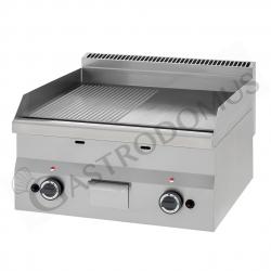 Frytop a gas da banco, profondità 600 mm, con piastra 1/2 liscia 1/2 rigata cromata doppia e potenza 10400 W