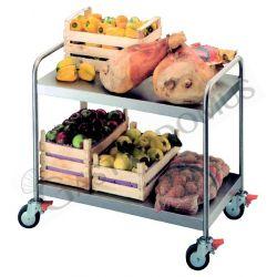 Carrello in acciaio inox con 2 ripiani e portata 600 kg, adatto per trasporti pesanti